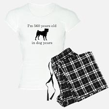 80 birthday dog years pug Pajamas