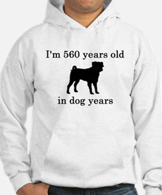 80 birthday dog years pug Hoodie