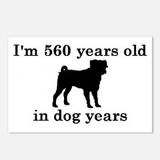 80 birthday dog years pug 2 Postcards (Package of