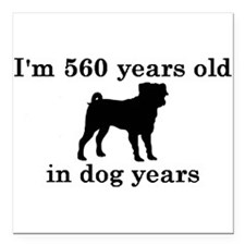 "80 birthday dog years pug 2 Square Car Magnet 3"" x"