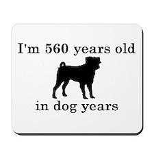 80 birthday dog years pug 2 Mousepad