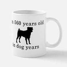 80 birthday dog years pug 2 Mugs