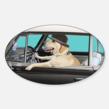Yellow Labrador Driving Classic Car Decal