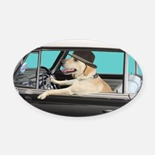 Yellow Labrador Driving Classic Ca Oval Car Magnet