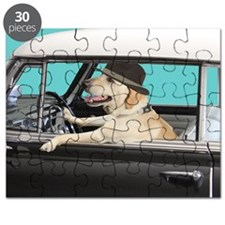 Yellow Labrador Driving Classic Car Puzzle