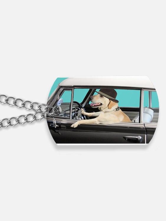 Yellow Labrador Driving Classic Car Dog Tags