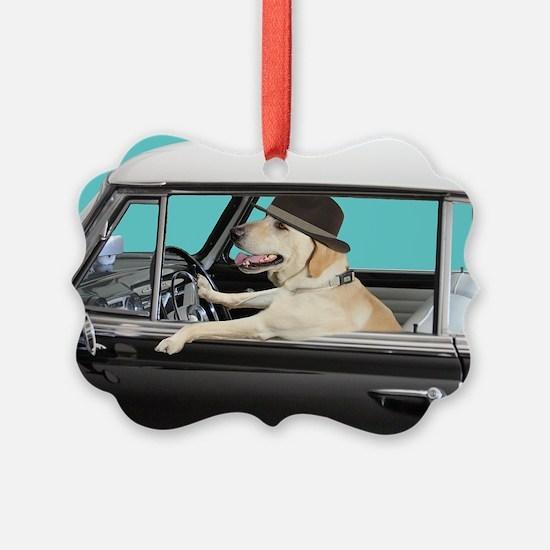 Yellow Labrador Driving Classic C Ornament
