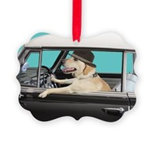 Yellow Labrador Driving Classic C Picture Ornament