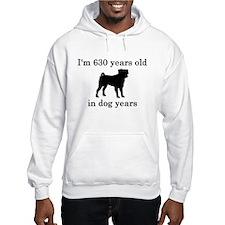 90 birthday dog years pug Hoodie