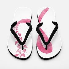 Pink Ribbon Butterflies Flip Flops