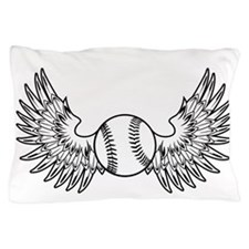 white Winged Ball Fastpitch on black Pillow Case