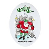 Hockey player Oval Ornaments