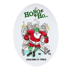 Hockey Santa Oval Ornament