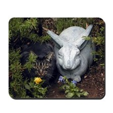 Cat and Rabbit in the Garden Mousepad