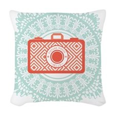 red camera Woven Throw Pillow