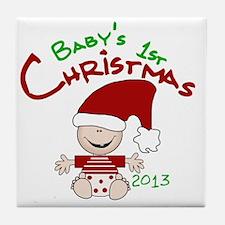 Santa Baby 1st Christmas 2013 Tile Coaster
