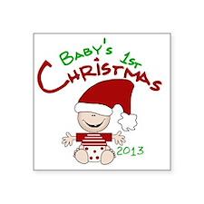 "Santa Baby 1st Christmas 20 Square Sticker 3"" x 3"""