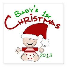 "Santa Baby 1st Christmas Square Car Magnet 3"" x 3"""