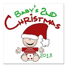 "Santa Baby 2nd Christmas Square Car Magnet 3"" x 3"""