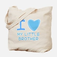 Blue I Heart (Love) My Little Brother Tote Bag