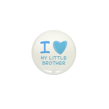 Blue I Heart (Love) My Little Brother Mini Button