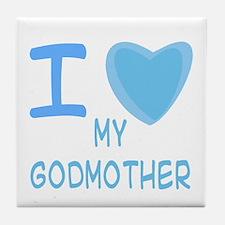 Blue I Heart (Love) My Godmother Tile Coaster