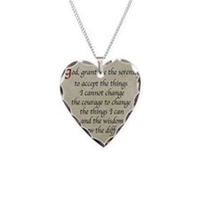 Serenity Prayer-Vintage Necklace Heart Charm
