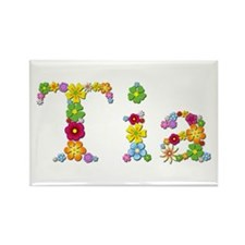 Tia Bright Flowers Rectangle Magnet