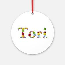 Tori Bright Flowers Round Ornament