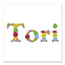 Tori Bright Flowers Square Car Magnet
