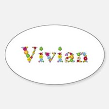 Vivian Bright Flowers Oval Decal