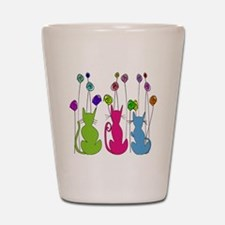 Whimsical Cats and Flowers Duvet Shot Glass