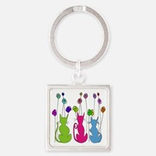 Whimsical Cats and Flowers Duvet Square Keychain