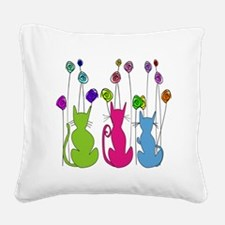 Whimsical Cats and Flowers Du Square Canvas Pillow