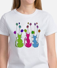 Whimsical Cats and Flowers Duvet Tee