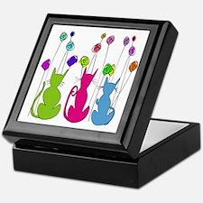 Whimsical Cats and Flowers Duvet Keepsake Box