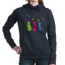 Whimsical Cats and Flowers Duvet Hooded Sweatshirt