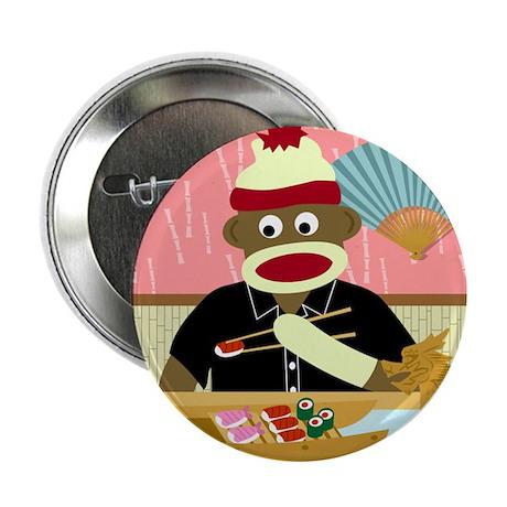 Sock Monkey Sushi Boat Button