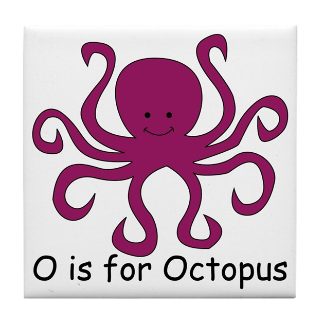 O Is For Octopus Tile Coaster By Srfboystore