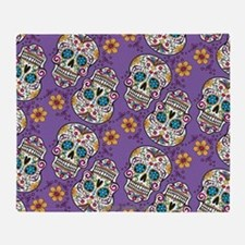 Sugar Skull Halloween Purple Throw Blanket
