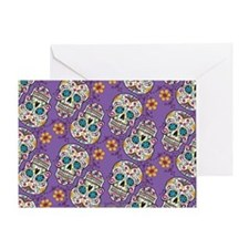 Sugar Skull Halloween Purple Greeting Card