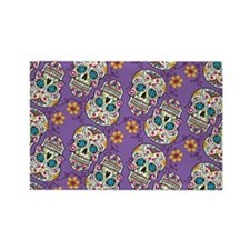 Sugar Skull Halloween Purple Rectangle Magnet