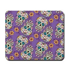 Sugar Skull Halloween Purple Mousepad