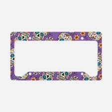 Sugar Skull Halloween Purple License Plate Holder