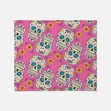 Sugar Skull Halloween Pink Throw Blanket