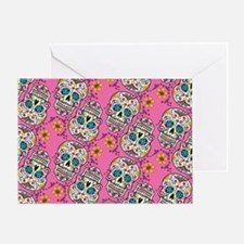 Sugar Skull Halloween Pink Greeting Card