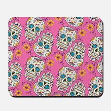 Sugar Skull Halloween Pink Mousepad