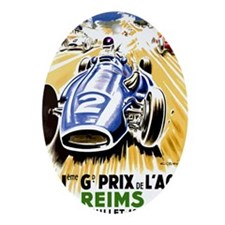 Vintage 1954 French Grand Prix Auto  Oval Ornament