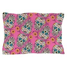 Sugar Skull Halloween Pink Pillow Case