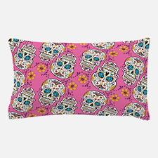 Sugar Skull Halloween Pink Pillow Case